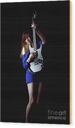 Woman Playing Lead Guitar Wood Print