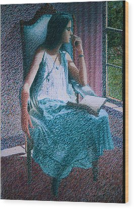 Woman Reading Wood Print by Herschel Pollard