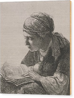 Woman Reading Wood Print by Rembrandt