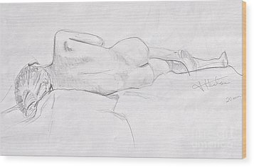 Woman Reclining Wood Print