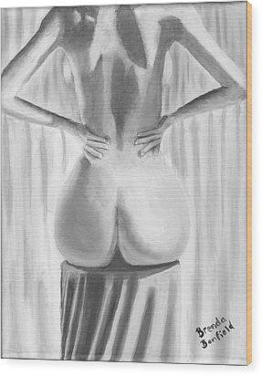 Woman Sitting Wood Print by Brenda Bonfield