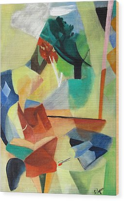 Woman Sitting By Window Wood Print by Betty Pieper