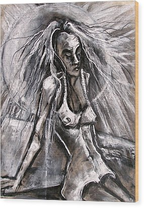 Woman Sunbather Wood Print