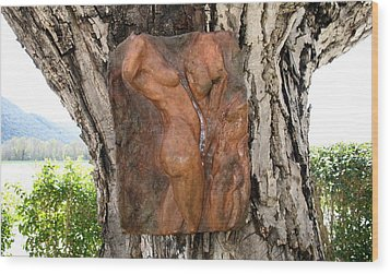 Woman Torso Relief Wood Print by Flow Fitzgerald