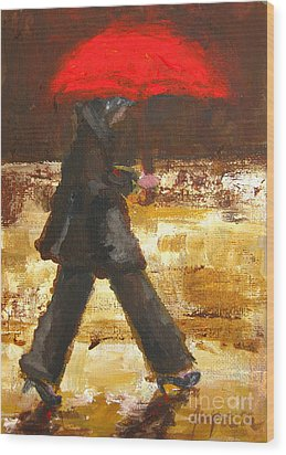 Woman Under A Red Umbrella Wood Print by Patricia Awapara