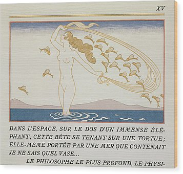 Woman Wading Through Water Wood Print by Georges Barbier