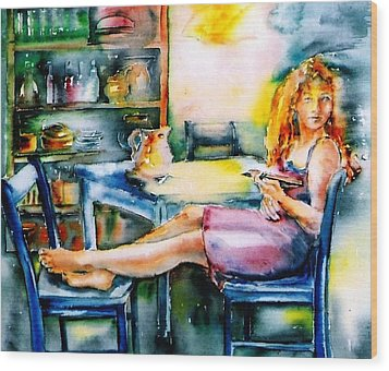 Woman Waiting No 2 Wood Print by Trudi Doyle