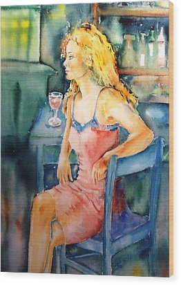 Woman Waiting  Wood Print by Trudi Doyle