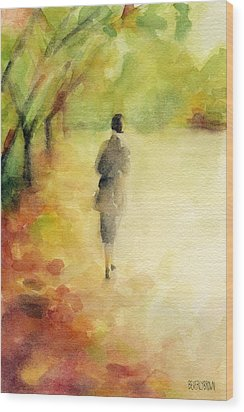 Woman Walking Autumn Landscape Watercolor Painting Wood Print