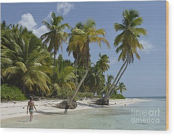 Woman Walking By Coconuts Trees On A Pristine Beach Wood Print by Sami Sarkis