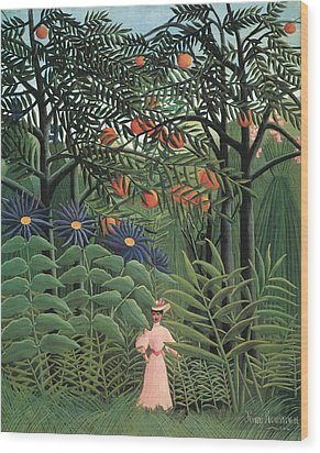 Woman Walking In An Exotic Forest Wood Print by Henri Rousseau