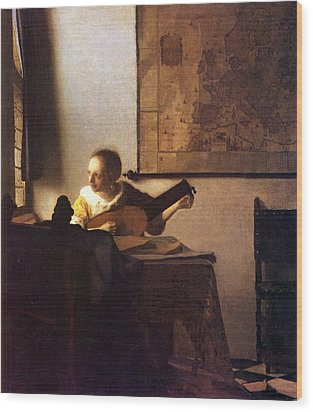 Woman With A Lute Wood Print by Johannes Vermeer