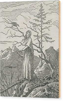 Woman With A Raven On The Edge Of A Precipice Wood Print by Caspar David Friedrich