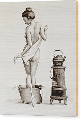 Woman With A Towel 1890s Wood Print