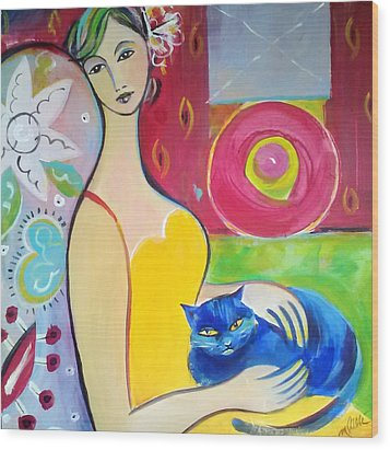 Woman With Blue Cat Wood Print by Marlene LAbbe