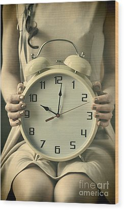 Woman With Clock Wood Print