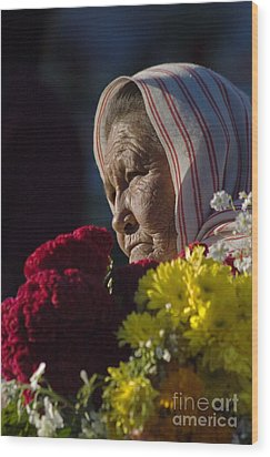 Woman With Flowers - Day Of The Dead Mexico Wood Print by Craig Lovell