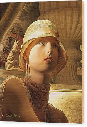Woman With Hat - Chuck Staley Wood Print by Chuck Staley