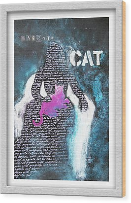Woman With Magenta Cat Wood Print by Eve Riser Roberts