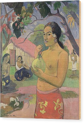 Woman With Mango Wood Print by Paul Gauguin