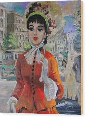 Woman With Parasol In Paris Wood Print