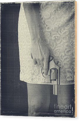 Woman With Revolver Wood Print by Edward Fielding