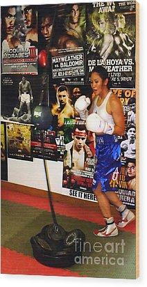 Woman's Boxing Champion Filipino American Ana Julaton Working Out Wood Print by Jim Fitzpatrick