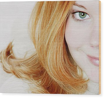 Womans Face Wood Print by Darren Greenwood