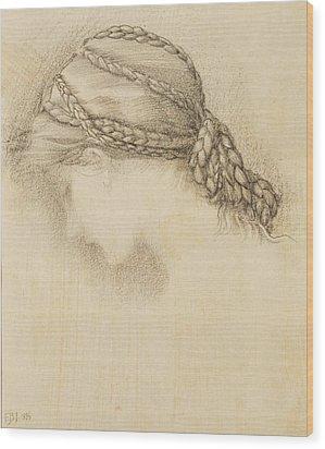 Womans Head, Detail From A Sketchbook Wood Print by Sir Edward Coley Burne-Jones