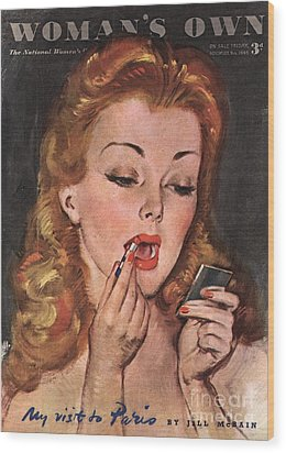 WomanÕs Own 1945 1940s Uk Make-up Wood Print by The Advertising Archives