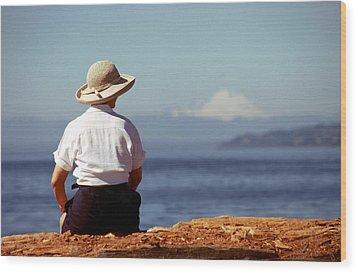 Woman's Solitude Wood Print by Glenn McGloughlin