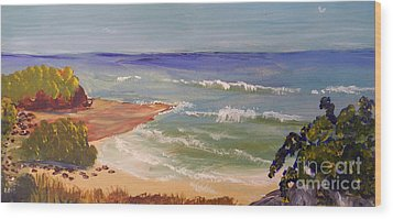 Wood Print featuring the painting Wombarra Beach by Pamela  Meredith