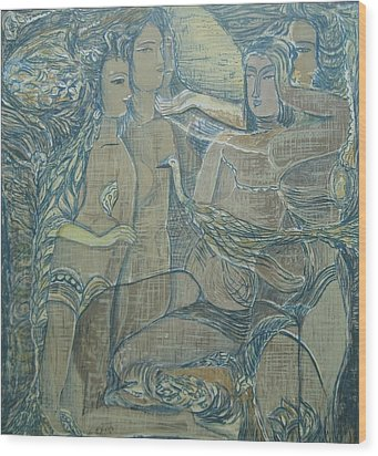 Women Chatting  Wood Print