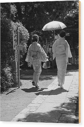 Women In Kimono Wood Print