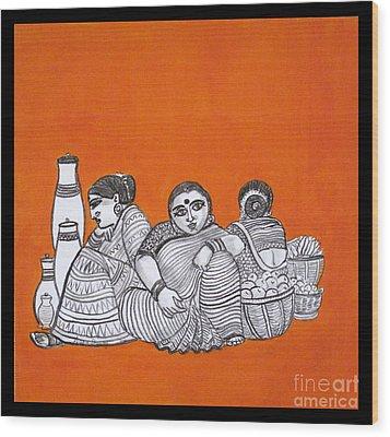 Women Vendors In Market Wood Print