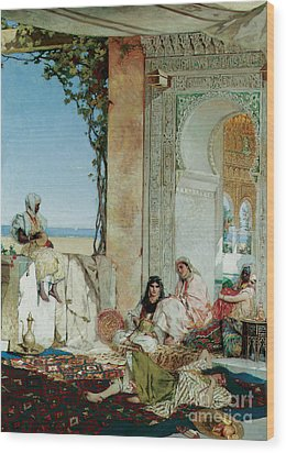 Women Of A Harem In Morocco Wood Print by Jean Joseph Benjamin Constant