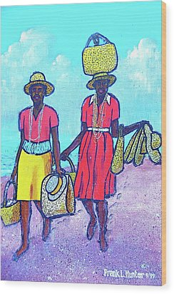 Women On Beach At Grenada Wood Print by Frank Hunter
