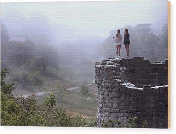 Women Overlooking Bright Foggy Valley Wood Print