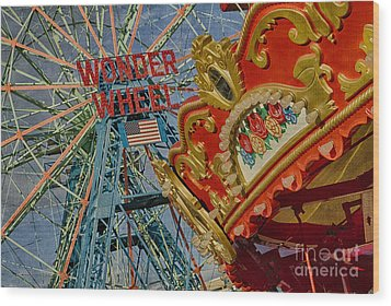Wood Print featuring the photograph Wonder Wheel - Coney Island by Vicki DeVico