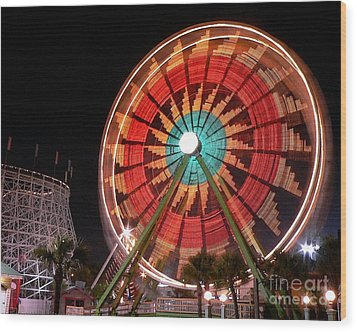 Wonder Wheel - Slow Shutter Wood Print by Al Powell Photography USA