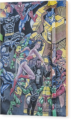Wonder Woman Abstract Wood Print by Terry Rowe