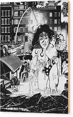 Wonder Woman Battle Wood Print by Ken Branch