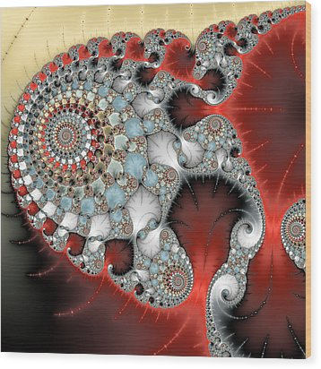 Wonderful Abstract Fractal Spirals Red Grey Yellow And Light Blue Wood Print by Matthias Hauser