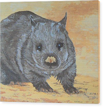 Wood Print featuring the painting Wonderful Wombat by Margaret Saheed