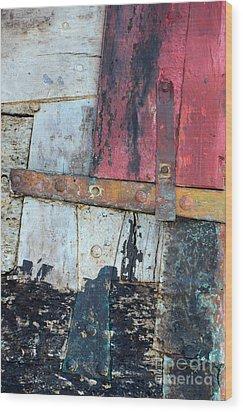 Wood And Metal Abstract Wood Print by Jill Battaglia