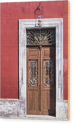 Wood And Wrought Iron Doorway In Merida Wood Print by Mark E Tisdale