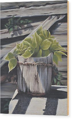 Wood Bucket - Pastel Wood Print by Ben Kotyuk