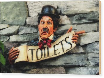 Wood Print featuring the photograph Wood Carved Toilet Sign by Marjorie Imbeau