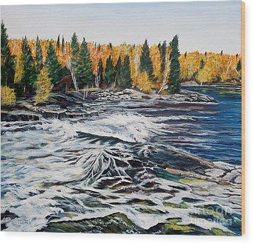 Wood Falls 2 Wood Print by Marilyn  McNish