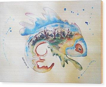 Wood-fish Wood Print by Natasa Dobrosavljev